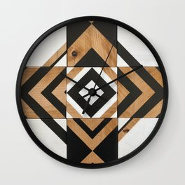Modern Wood Art, Black and White Chevron Pattern Wall Clock