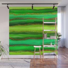 Green Watercolour Stripes Wall Mural