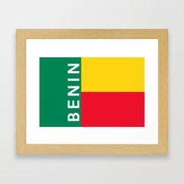 benin country flag name text Framed Art Print
