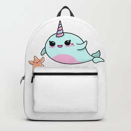 Cute Narwhal and Starfish Backpack