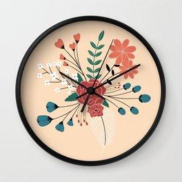 Cream-Flower Arrangement Wall Clock