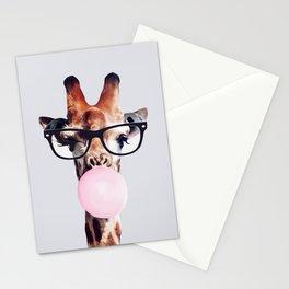GIRAFFE WEARING GLASSES BLOWING A PINK BUBBLEGUM Stationery Cards