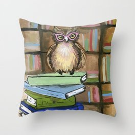 Owl the Librarian Throw Pillow