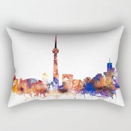 Toronto Watercolor Skyline Rectangular Pillow