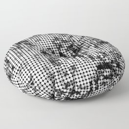 psychedelic circle pattern painting abstract background in black and white Floor Pillow