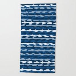 Classic Blue Wave Pattern Beach Towel