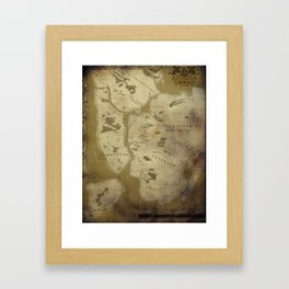 Fantasy Map of New York: Dirty Parchment Framed Art Print