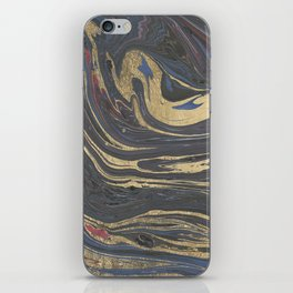 Abstract navy blue gray coral gold marble iPhone Skin