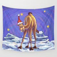 camel Wall Tapestries featuring Camel Christmas by Imagine That! Design