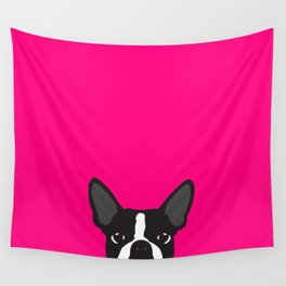 Boston Terrier Hot Pink Wall Tapestry