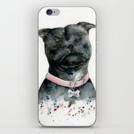 Watercolor Black Staffordshire Bull Terrier Dog iPhone Skin