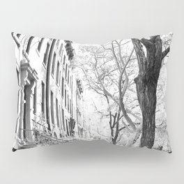 Cobble Hill Brooklyn Winter Black and White Brownstone Pillow Sham