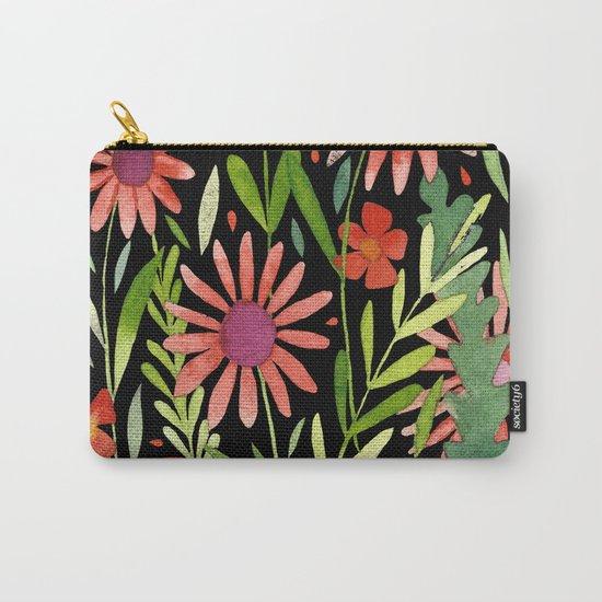 Flower Burst Orange and Black, floral pattern design Carry-All Pouch