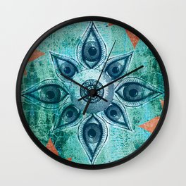 Mandalas Eyes Wall Clock