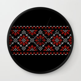 Traditional flowers cross-stitch row black Wall Clock