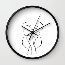 Minimal Nude Sketch - Her Name Is Isla Wall Clock