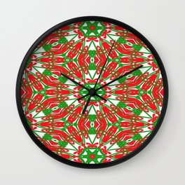 Red, Green and White Kaleidoscope 3376 Wall Clock