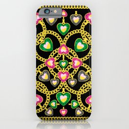 Fashion Pattern with Golden Chains and Jewelry iPhone Case