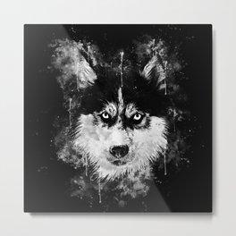 husky dog face splatter watercolor Metal Print