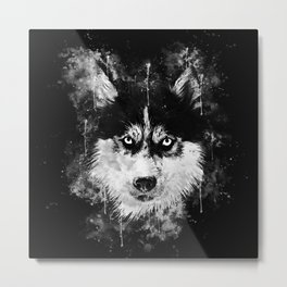 husky dog face splatter watercolor Metal Print
