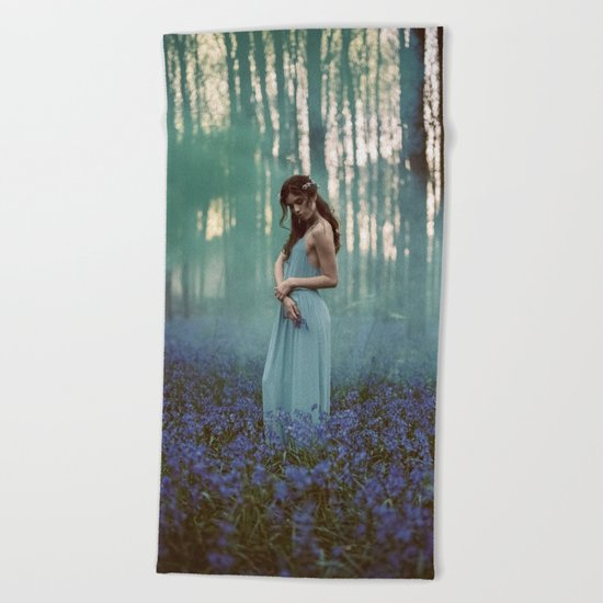 Girl in forest 2 Beach Towel
