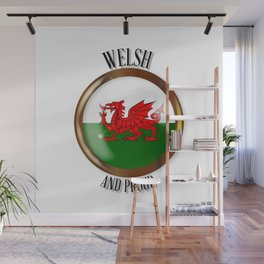 Welsh Proud Flag Button Wall Mural