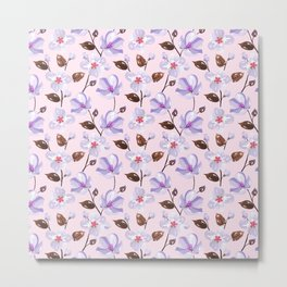 Elegant lilac violet blush pink brown modern floral illustration Metal Print