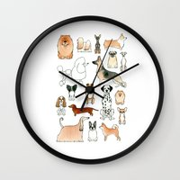 dogs Wall Clocks featuring Dogs by Rebecca Bennett