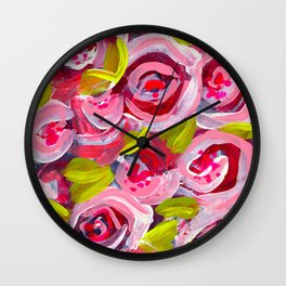 Roses on Roses on Roses Wall Clock