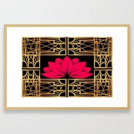Art Deco Retro Lotus (amaranth-black) Framed Art Print