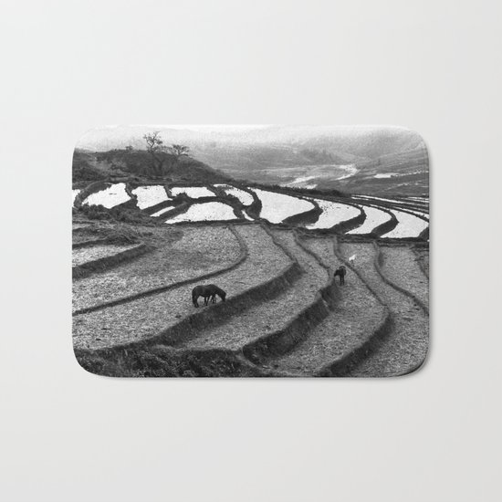Horses on rice paddies in northern Vietnam Bath Mat