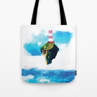 gorillaz Tote Bags featuring Lighthouse by Vadim Cherniy
