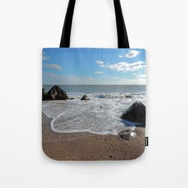 Waves coming in at the Westport Town Beach Tote Bag