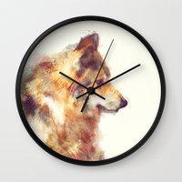 wolf Wall Clocks featuring Wolf // True by Amy Hamilton