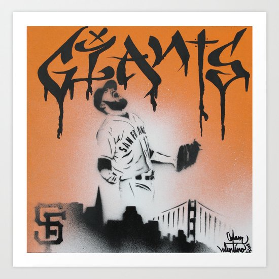 SF Giants Sergio Romo stencil painting print Art Print