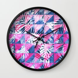 Abstract Hot Pink Geometric Tropical Design Wall Clock