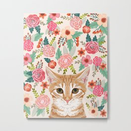 Tabby Cat florals cute spring garden kitten orange tabby cat lady funny girly cat art pet gifts  Metal Print