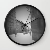 real madrid Wall Clocks featuring Madrid by Jane Lacey Smith