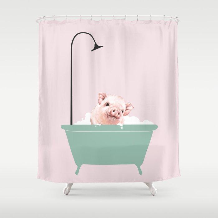 Baby Pink Pig Enjoying Bubble Bath Shower Curtain