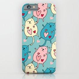 Cute Cat Heart Blue #valentine iPhone Case