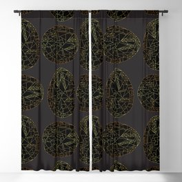 Easter eggs gold and black Blackout Curtain