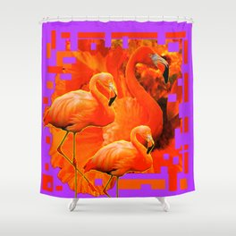 PANTENE ULTRA VIOLET PURPLE  FLAMINGOS ART DESIGN Shower Curtain