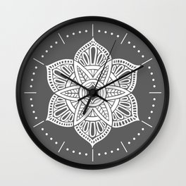 Floral Lotus Mandala Grey Wall Clock