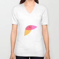 parrot V-neck T-shirts featuring Parrot by Volkan Dalyan