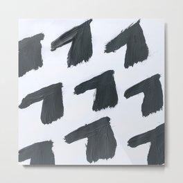 Horse, Abstract, Black & White Metal Print