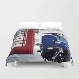Classic Blue Vespa Duvet Cover