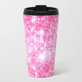 Hot Pink Galaxy Stars Sparkle Travel Mug