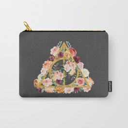 Watercolor Deathly Hallows - Gold/Charcoal Carry-All Pouch