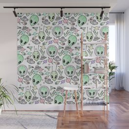 Alien and UFO pattern Wall Mural