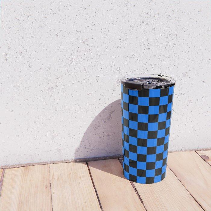 Black and Brandeis Blue Checkerboard Travel Mug